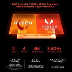 T-bao MN22 Mini PC AMD Ryzen 3 2200U 4GB RAM 128GB M.2 NVNE SSD Radeon Vega 3 Graphics Mini PC for Dwelling Workplace UK Plug