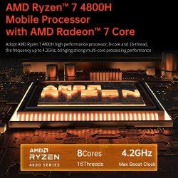T-bao MN48H Mini PC with AMD R7 4800H Processor AMD Radeon Graphics GPU 16GB+1TB Reminiscence Home windows 10 Working System EU Plug